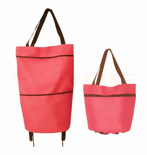 Folding Roller Shopping Bag Multi Function High Capacity Tote Handbag Tug Hand Reusable Storage Bags With Wheel Rolling 5 7hj BB