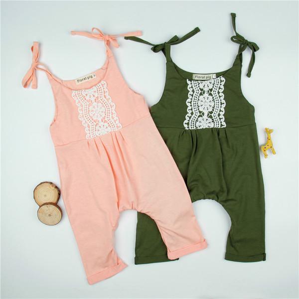 top popular Infants Girls lacework overalls baby girls cute suspenders shoulder lace up haren pants for 3-18M 2020