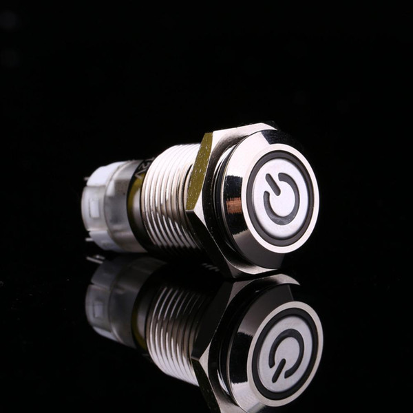 White Light Hot Car Auto Metal LED Power Push Button Switch Latching Type On-off 12V 16mm Waterproof