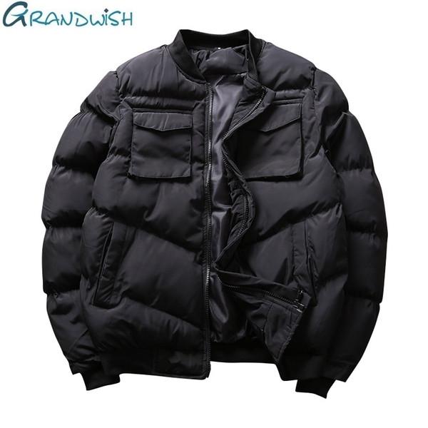 Grandwish Brand Winter Men Casual Jacket Stand Collar abrigos cálidos para el hombre Tallas grandes Hombre Ropa de invierno Outwear Parka, ZA068
