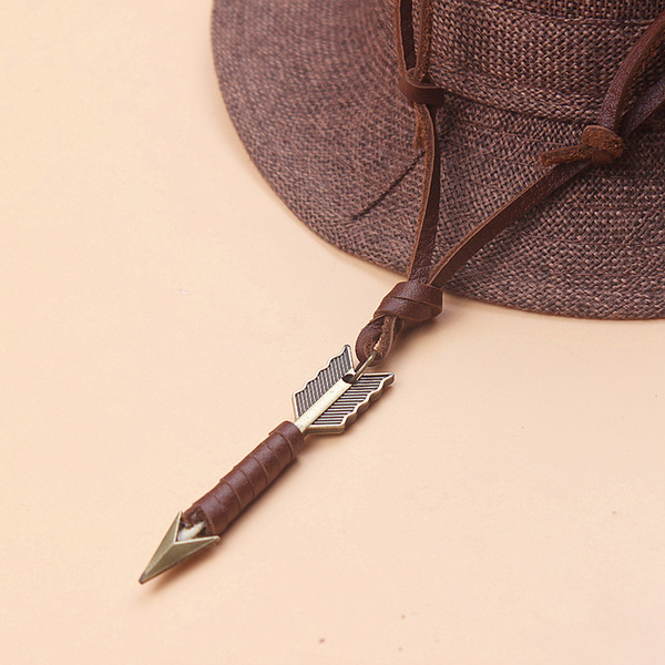 whole saleHENGCREATION Vintage Genuine Leather Arrows Necklace Handmade Braided Male Jewelry DH1701