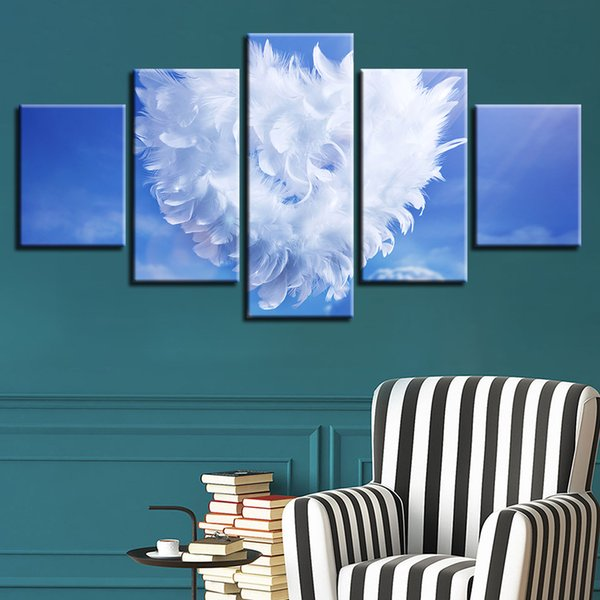 Canvas Paintings Wall Art Home Decor Living Room 5 Pieces Angel Feather Love Heart Posters HD Prints Pictures Modular Framework