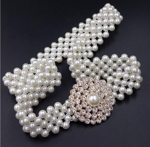 lilin447320 / Nueva marca de correa cinturón elástico de la perla correa de lujo de alta calidad cinturones de diseño para las mujeres cinturones de negocios di