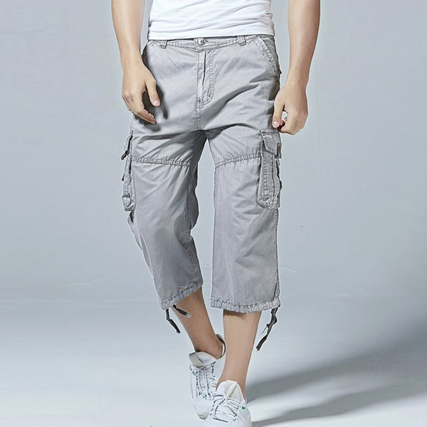 2018 Men's Cotton Twill Relaxed Fit Cargo Short 2018 Summer Fashion Male Long Multi-Pockets Casual Capri pants Work Trousers Y1892801