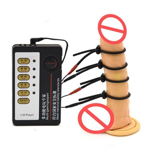 best selling Male Electro Shock 4Pcs Electric Shock Penis Rings Enhancement Electro Penis Extensions Massager Fetish Bondage BDSM Sex Toy Electrode Gear