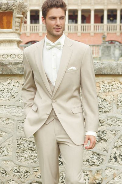 Men Wedding Suits 2017 Light Khaki Men Suits Slim Fit Groom Tuxedos Groomsman Blazer suits for men 3 piece (Jacket+Pants+Vest)