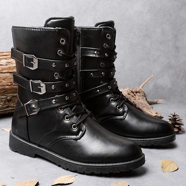 Classic Men's Winter Warm Outdoor Fur Rivet Zipper Military Combat Boots Belt Buckle Motorcycle Boots HighTop Flat Army Leather Martin Boots