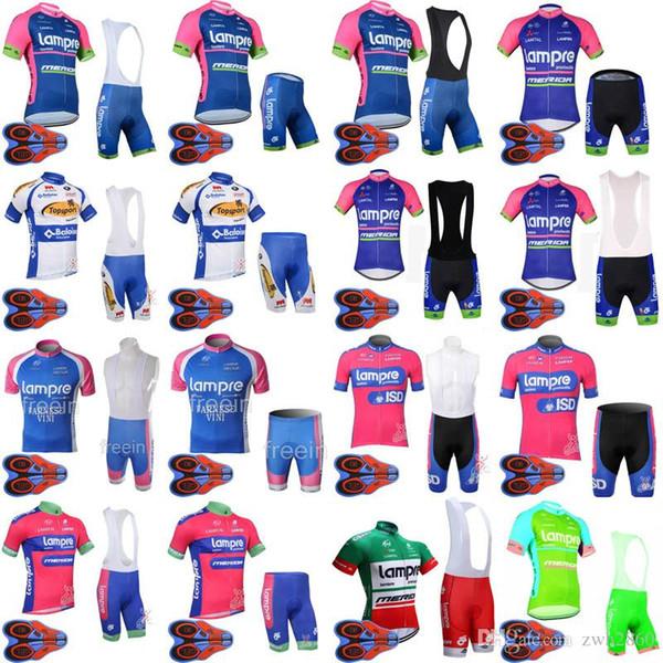 LAMPRE TOPSPORT team Cycling Short Sleeves jersey (bib) shorts sets Summer Style men Polyester Top Brand Bike sportwear D1635