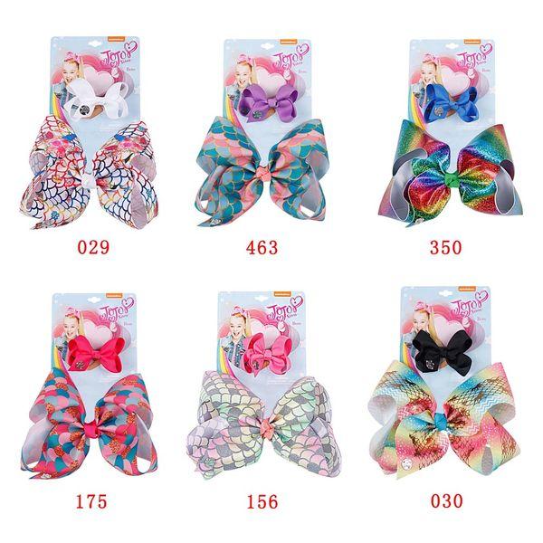 2Pcs/Set Princess Mermaid Hair Bows Rainbow Ribbon With Alligator Hair Clips For Girls Kids Handmade Headdress Hair Accessories