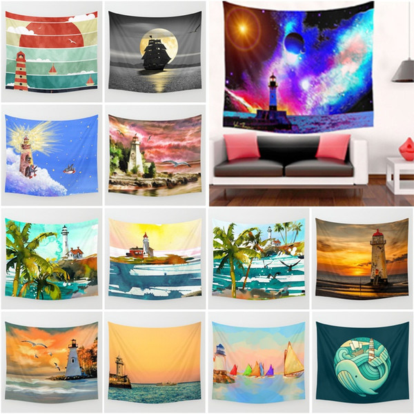 Mediterranean Style Lighthouse Sailing Boat Printing Polyester Tapestry Wall Decor Living Room Art Wall Hanging Bedspread Yoga Mat Blanket
