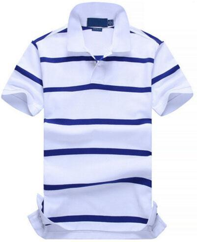 Collect New POLO Shirt Men Cotton Fashion Color striped camisa polos Small Horse Print masculina de marca Summer Casual Shirts White