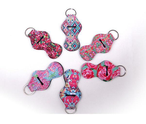 Neopren Chapstick Halter Schlüsselbund Lippenstift Schlüsselanhänger Lip Blam Schlüsselbund Neopren Lippenstift Lippenstift Abdeckung (zufällige Farbe senden) H352Q