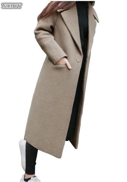 Kış Ceketler Kadınlar Yün Karışımı Ceket Geniş Yaka Cep Boy Uzun Trençkot Giyim Yün Kadın kadın palto