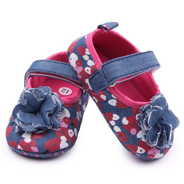 Spring Autumn New Arrival Baby Girls Shoes Floral Denim Canvas Princess Toddler Prewalker Infant Baby Shoes for 0-18M