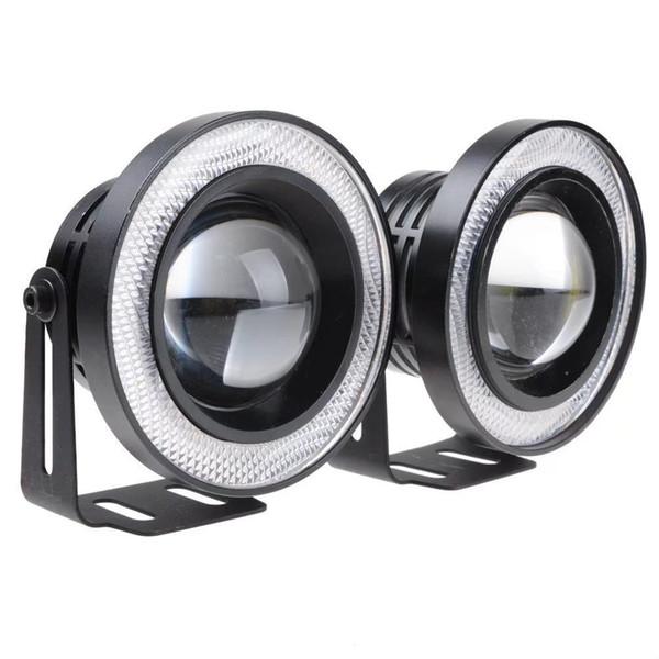 2Pcs Aluminum Car Fog lights Angel Eyes 64mm 76mm 89mm 30W COB LED DRL Driving Lights Fog Lamp Fog Light 12V Car Styling