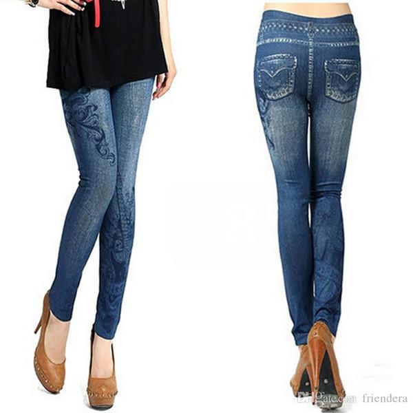 Wholesale- S-XL, New 2017 Women's Skinny Leggings Fashion Elastic Print, Hole, Pleated Imitation Jeans Leggings Plus Size Slim Leggings