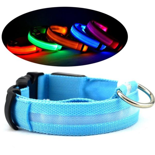 LED Nylon Dog Collar Dog Cat Harness Flashing Light Up Night Safety Pet Collars 8 Color XS-XL Size Christmas Accessories fast