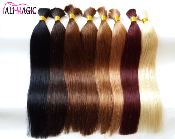 AliMagic Bulk Braiding Hair 100% Virgin Human Hair Bundles Bulk Straight Hair 10A High Quality 2018 Sell Well Can Be Dyed Free Shipping