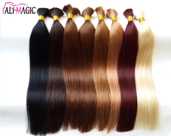 best selling AliMagic Bulk Braiding Hair 100% Virgin Human Hair Bundles Bulk Straight Hair 10A High Quality 2018 Sell Well Can Be Dyed Free Shipping