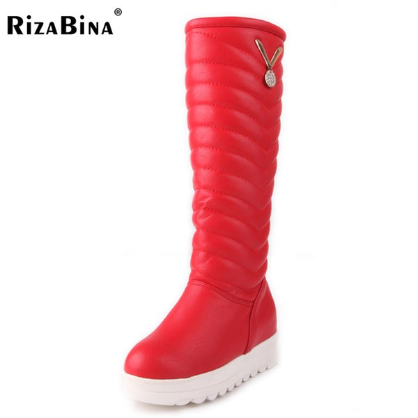 RizaBina Size 34-42 Women Wedges Boots Knee Snow Boots Cold Winter Shoes Inside Heel Thick Fur Boots Long Botas Women Footwear