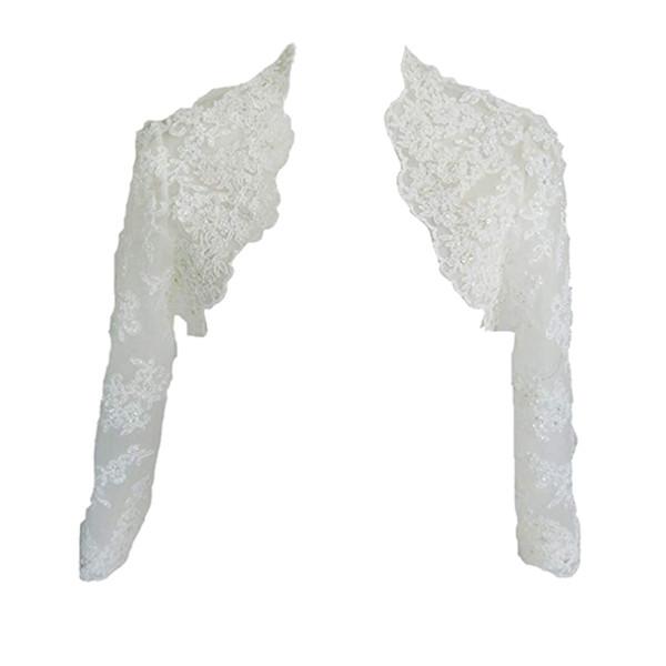 Eren Jossie Long Sleeve Bridal Tulle Jacket with Beaded Appliques 100% High Quality Wholesale Wedding Bolero