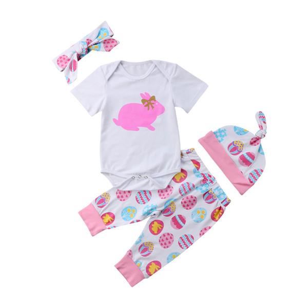 Pudcoco Baby Girls 4 unids Newborn Easter Bunny vestido Body + patrón pantalones + sombrero + diadema ropa de moda conjunto ropa de festival