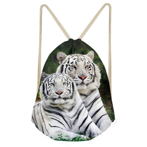 Customized Cool Animal 3D Tiger Printed Men's Small Drawstring Bag Travel Men Backpack String Shoes/Bags Storage Shoulder Bags