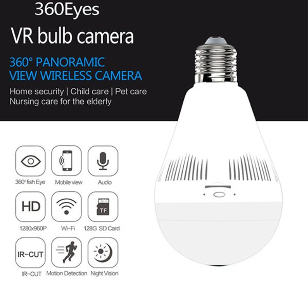 2MP 1080P 360 Degree Wireless IP Camera Fisheye Panoramic Surveillance Security Camera Night vision Bulb Lamp CCTV Camera P2P Support 128GB