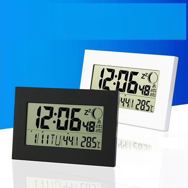 Wall clock Calendar Week Date Month with thermometer Moon Phase household Desk digital alarm Clock countdown Snooze & temperature Meter H157