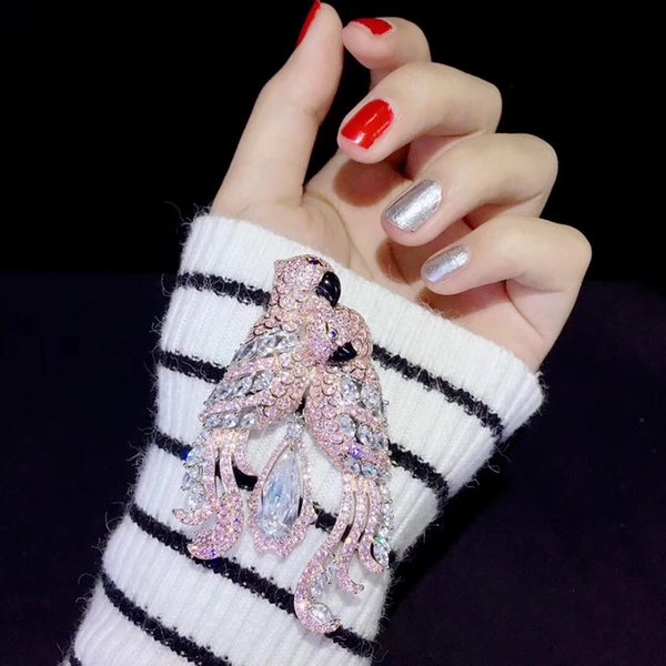 розовый цвет стерлингового серебра 925 с кубическим Цирконом двойной попугаи брошь булавки любовь птицы мода женщины ювелирные изделия для платья или пальто