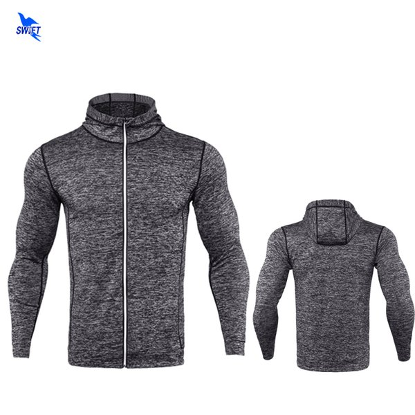2018 Spring Long Sleeve Mens Running Jacket Fitness Breathable Hooded Sweatshirt Zipper Slim Fit Pullover Hoodies Gym Sportswear