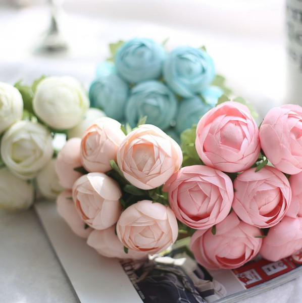 Compre K16224 Simulacro De Manualidades Ranunculus Boda Flores - Manualidades-con-flores-artificiales