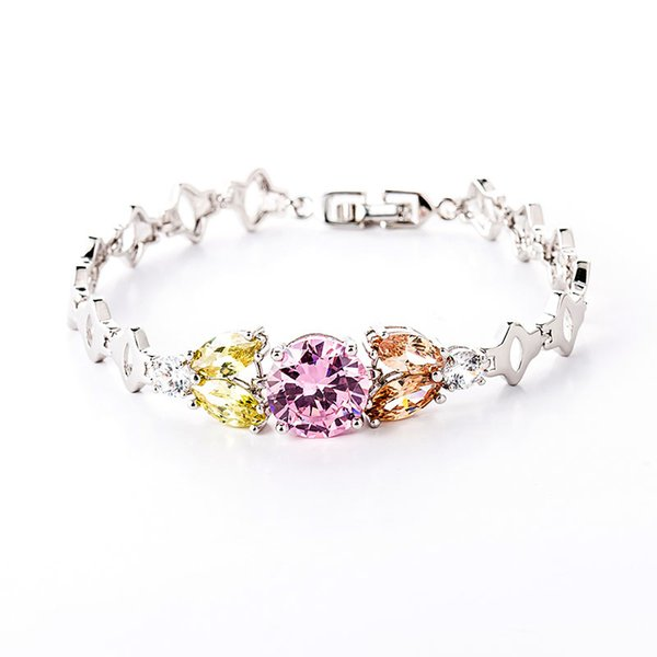 Elegante Verzierung 24K Kupfer überzogene Armband-süße Zirkon-Kette Valentinstag-Geschenk-Handchian-Schmuck für den Tag der Mutter