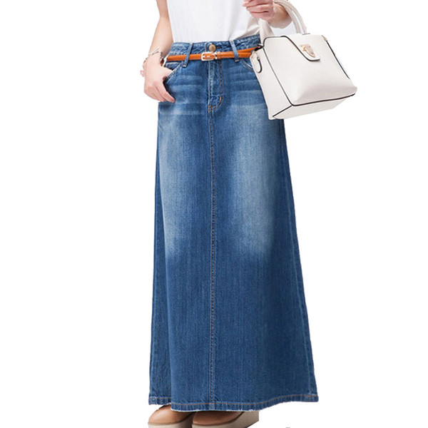 best selling Free Shipping 2018 New Fashion Long Casual Denim Skirt Spring A-line Plus Size S-2XL Long Maxi Skirts For Women Jeans Skirts