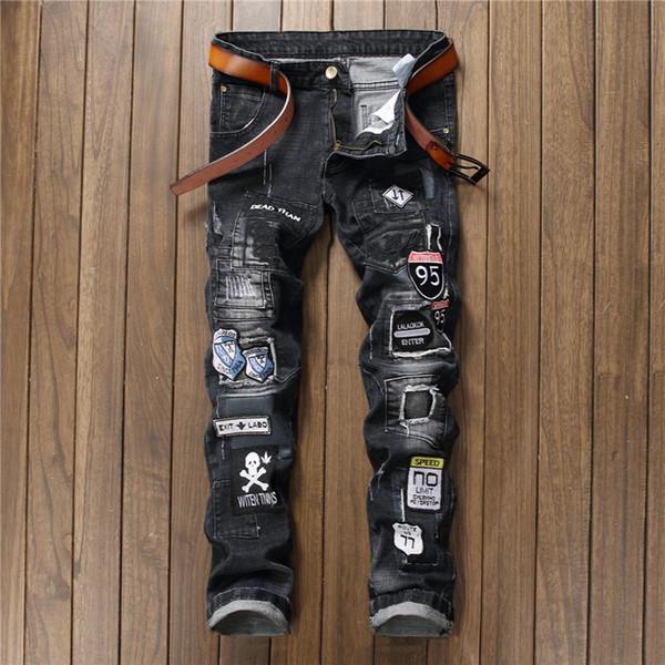 BIEPA Zerkratzt Denim Jeans Biker Patchwork Slim Fit Schwarze Jeans Punk Rock Rap Gewaschen Gerade Männer Zerrissene Hosen Hosen