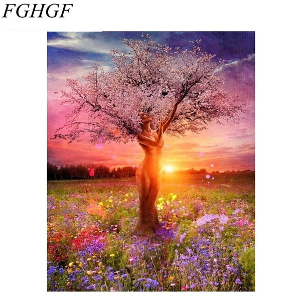 FGHGF Frameless Sexy Tree DIY Painting By Numbers Landscape Modern Home Wall Art Decor Handpainted Oil Painting Unique Gift