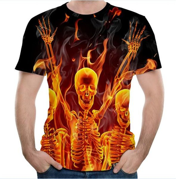 Wholesale Free Shipping Summer New Design Men Fashion Firing Red Skull Skeleton 3D Sublimation Printed Tees T-shirt