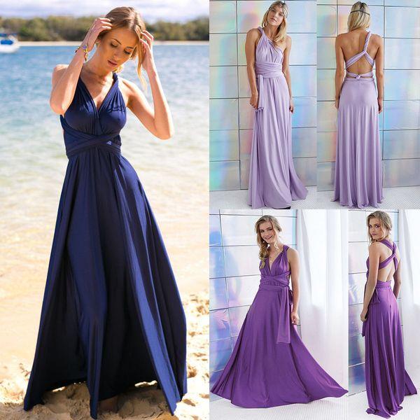 2019 Cheap Convertible Bridesmaid Dresses Floor Length Sleeveless Open Back  Long Maid of Honor Dress Custom Made BM0143 ab6309addf5f