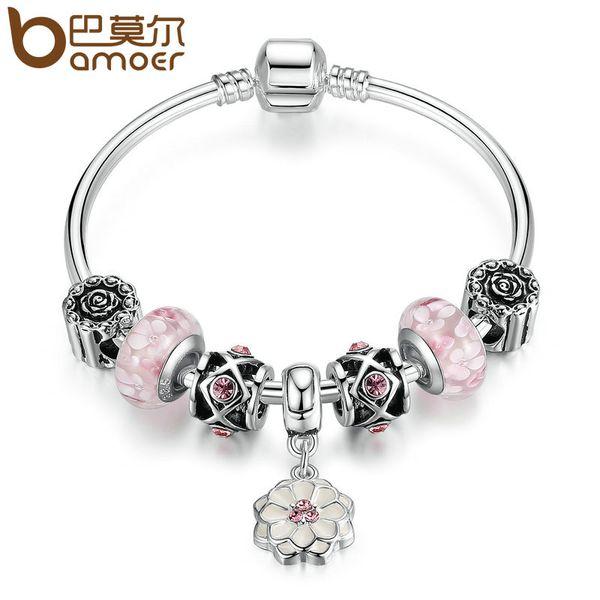 Toute venteBAMOER Mode Argent Couleur Blanc Fleur Pendentif Rose Perles De Verre De Murano Charme Bracelets Bracelet Bijoux De Mode PA3807