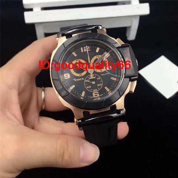 2017 latest style men's T series black dial Japan quartz work time meter rubber watch men luxury watch ts many colors