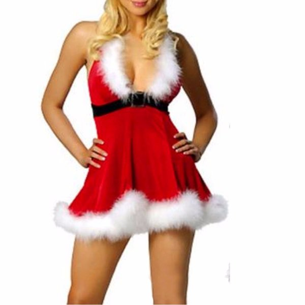 Women Sexy Christmas Festival Cosplay Costumes Red Corduroy Corset Santa Claus Dress Playing for Adult Santa Dresses Plus Size