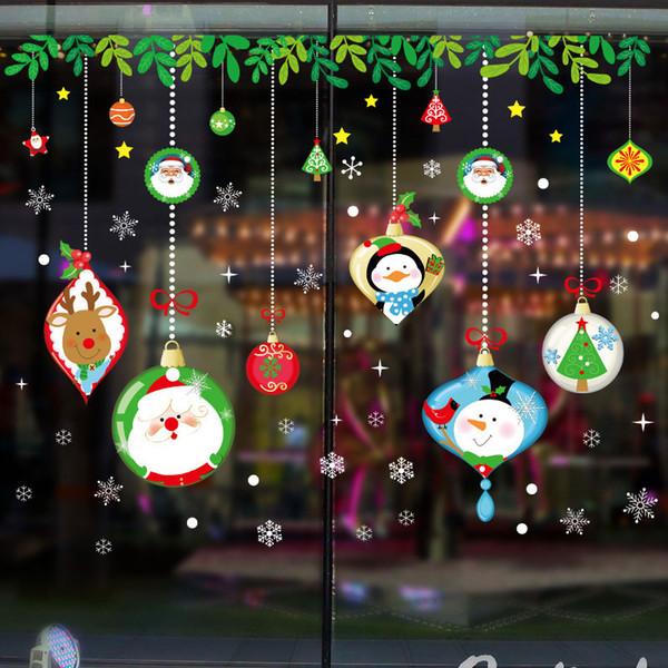 Venda quente Dos Desenhos Animados Feliz Natal Vinil Papai Noel Adesivos de Parede Decalques Janela decor Loja Decoração Mural Papel De Parede