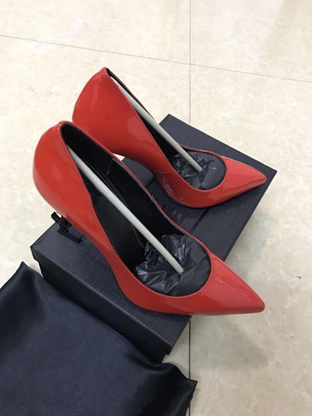 Luxe européen concepteur classique talons hauts femmes chaussures cuir verni bout pointu pompes chaussures livraison gratuite taille 35-42