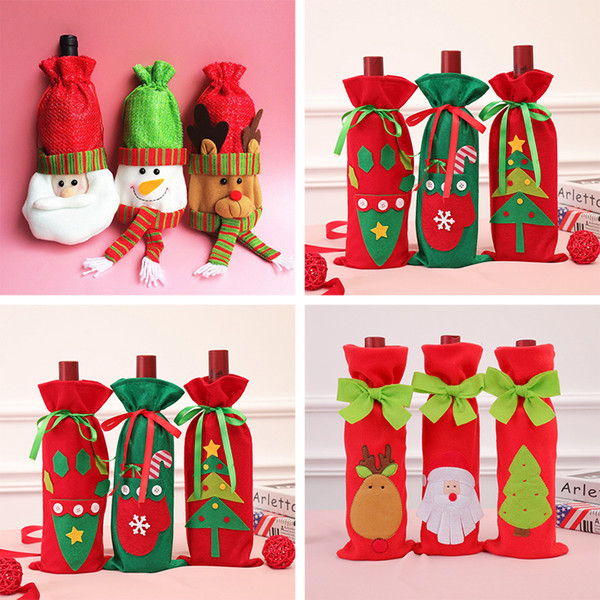 Christmas Wine Bottle Bags Christmas Ornaments Many Designs Festive Decorations Cute Christmas Decoration BH18055