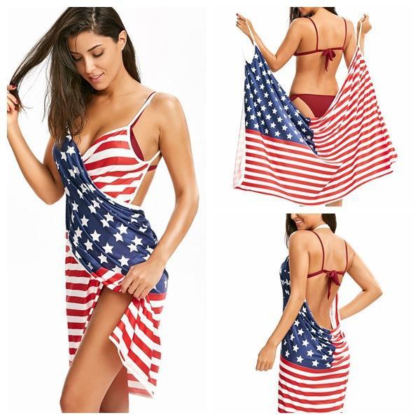 Las mujeres de EE. UU. De la bandera americana imprimen la venda del vestido de la playa Stars Stripes V-Neck Backless los vestidos de la correa de espagueti AAA716
