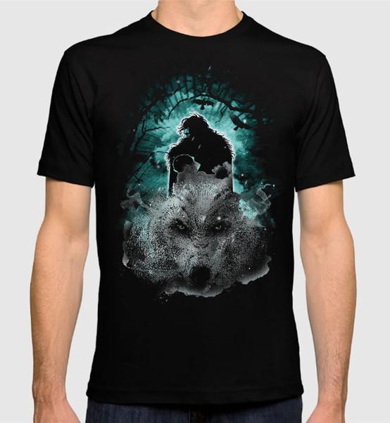 Maglietta House Stark Jon Snow Art Game Of Thrones Maglietta da uomo Gome T-shirt da uomo