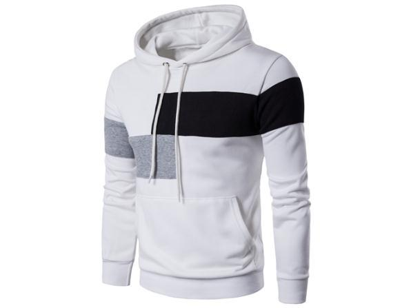 2018 new European and American style letter printing men's long-sleeved hooded sweater stitching patch coat jacket