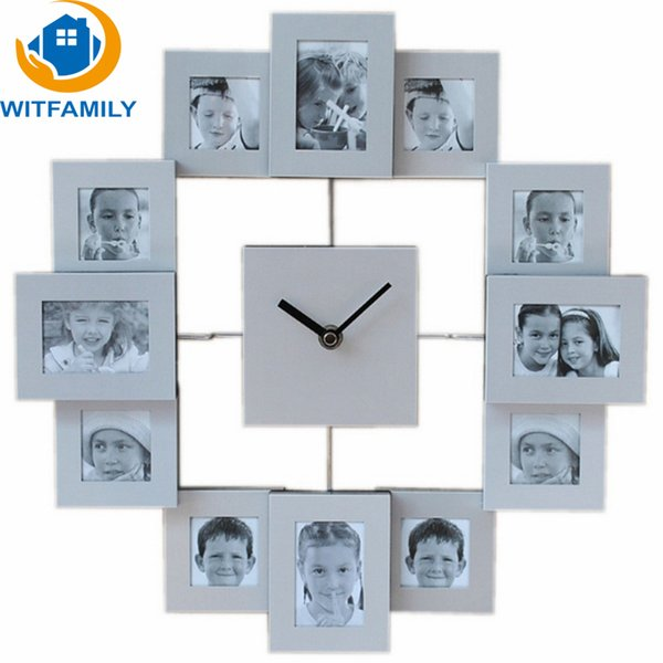 3D Hot DIY Modern Photo Frame Clock with 12 Pictures Large Decorative Metal Wall Clock Living Room Art Home Decor Wall Sticker