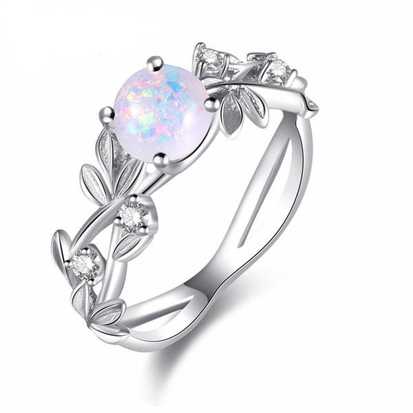 10pcs/lot Classic Mother Gift Round White Fire Opal Gemstone 925 Sterling Silver Wedding Ring Jewelry Gift