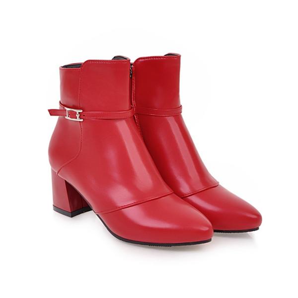 SF Plus Size 31-44 New 2018 Women Winter Martin Boots Med Heel Botas Platform Shoes Bottes Femme Europe Botines Mujer